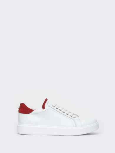 Низкие кеды белого цвета с контрастными вставками - 21423, фото 5 – интернет-магазин Dressa