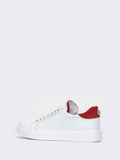 Низкие кеды белого цвета с контрастными вставками - 21423, фото 6 – интернет-магазин Dressa