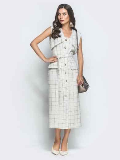 Приталенное платье из твида в клетку белое - 39928, фото 2 – интернет-магазин Dressa