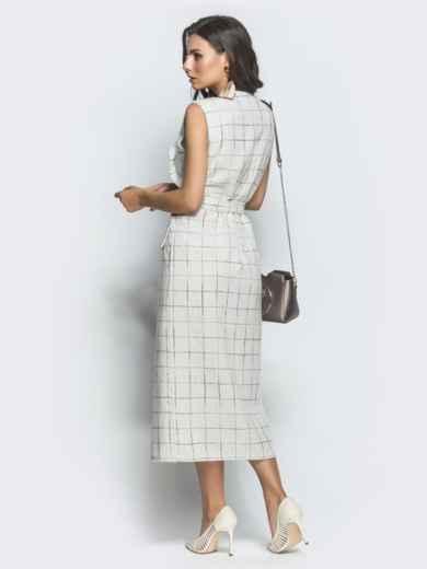 Приталенное платье из твида в клетку белое - 39928, фото 3 – интернет-магазин Dressa
