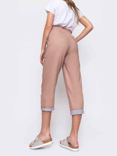 Розовые брюки с завышеной талией и подворотами 48453, фото 2