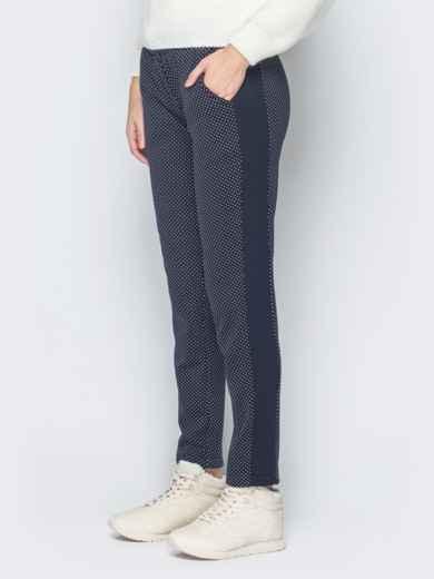 """Синие брюки на меху в мелкий принт """"горошек"""" - 18883, фото 2 – интернет-магазин Dressa"""