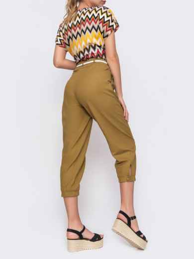 Укороченные брюки с завышенной талией цвета хаки 48440, фото 3
