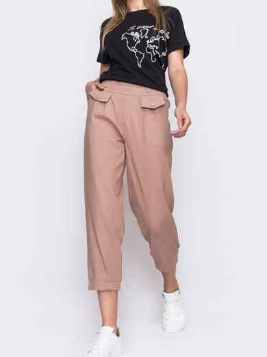 Укороченные брюки с завышенной талией розового цвета  48439, фото 1