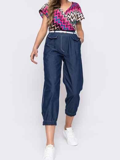 Укороченные брюки с завышенной талией синего цвета  48442, фото 1