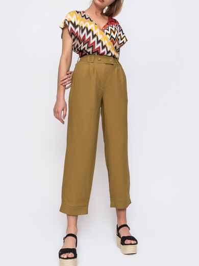 Укороченые брюки с завышеной талией хаки 48448, фото 1