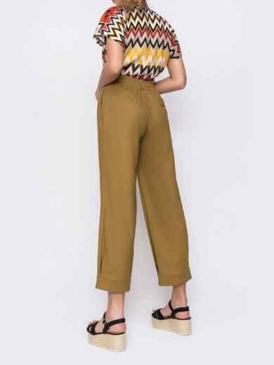 Укороченые брюки с завышеной талией хаки 48448, фото 2