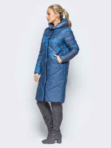 Зимняя куртка синего цвета с кулиской на капюшоне - 16988, фото 2 – интернет-магазин Dressa