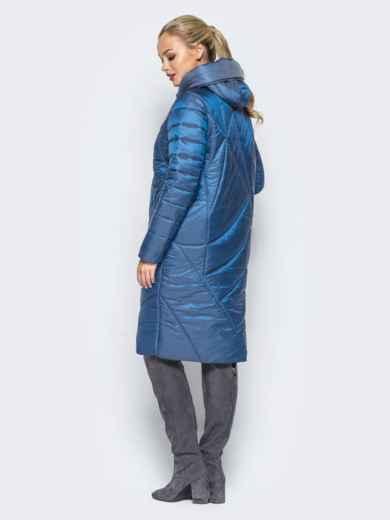 Зимняя куртка синего цвета с кулиской на капюшоне - 16988, фото 3 – интернет-магазин Dressa