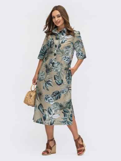 Хлопковое платье-рубашка с растительным принтом хаки 54154, фото 1