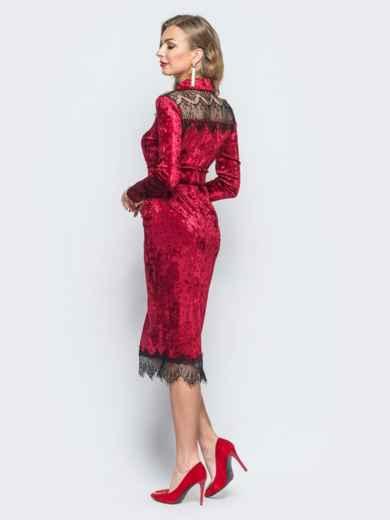 Бархатное платье бордового цвета с функциональными пуговицами - 18083, фото 2 – интернет-магазин Dressa