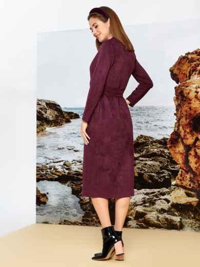 Бордовое платье на запах из замши с широкими лацканами - 42196, фото 2 – интернет-магазин Dressa