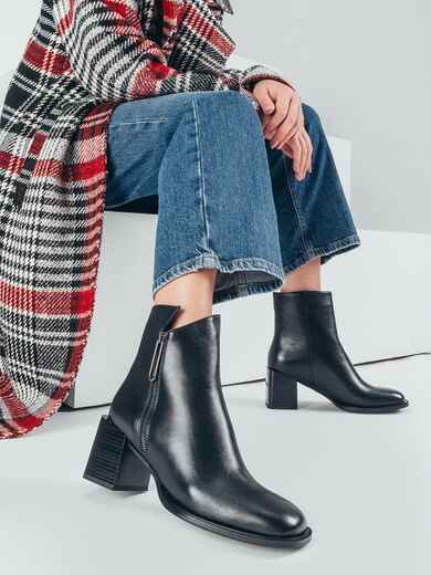 Чёрные ботинки из искусственной кожи на устойчивом каблуке 51214, фото 1