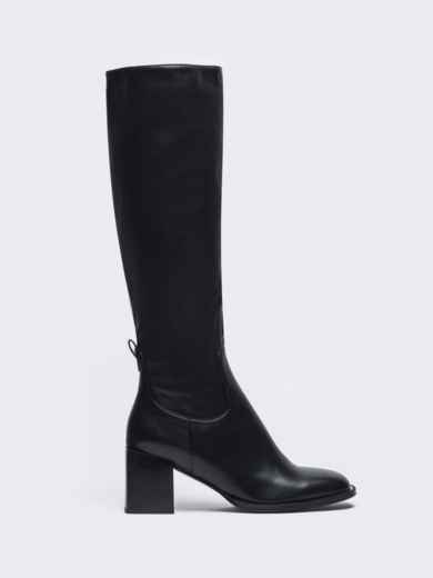 Демисезонные сапоги из искусственной кожи на каблуке чёрные 51222, фото 3