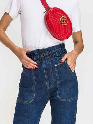 Джинсы с накладными карманами и оборкой по талии синие - 41932, фото 4 – интернет-магазин Dressa