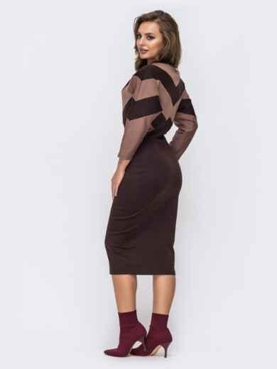 """Коричневое платье из французского трикотажа с рукавом """"летучая мышь"""" - 42753, фото 2 – интернет-магазин Dressa"""