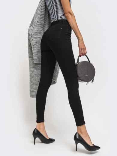 Обтягивающие джинсы чёрного цвета с поясом - 41929, фото 2 – интернет-магазин Dressa