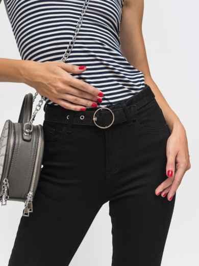Обтягивающие джинсы чёрного цвета с поясом - 41929, фото 3 – интернет-магазин Dressa