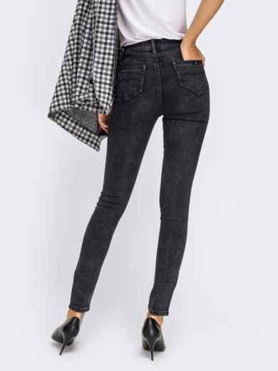 Обтягивающие джинсы черного цвета с завышенной талией - 41934, фото 2 – интернет-магазин Dressa