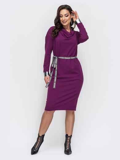 Платье батал с воротником-хомут фиолетовое 44429, фото 1