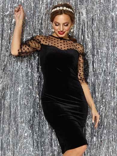 Платье-футляр из велюра с фатиновой кокеткой и рукавами чёрное 42752, фото 1