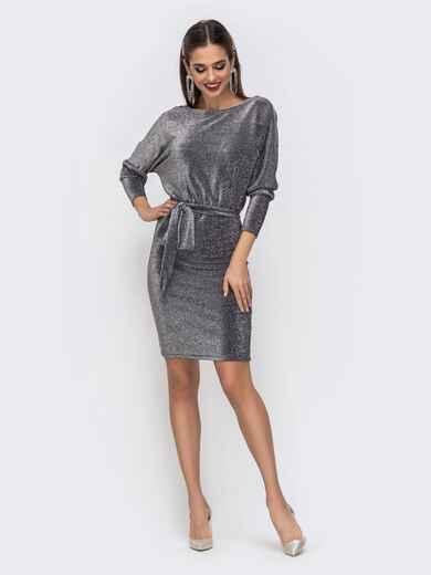 """Платье из люрекса с рукавом """"летучая мышь"""" серого цвета - 42744, фото 1 – интернет-магазин Dressa"""