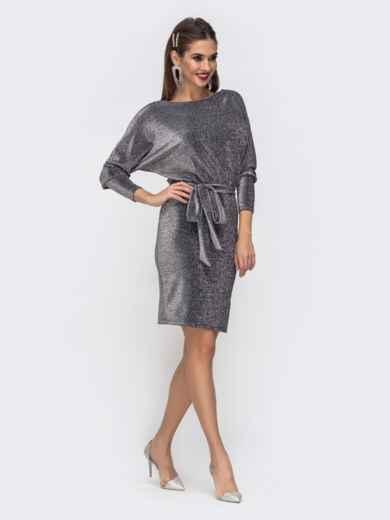 """Платье из люрекса с рукавом """"летучая мышь"""" серого цвета - 42744, фото 2 – интернет-магазин Dressa"""