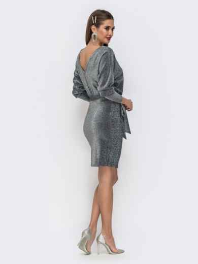 """Платье из люрекса с рукавом """"летучая мышь"""" серого цвета - 42744, фото 3 – интернет-магазин Dressa"""