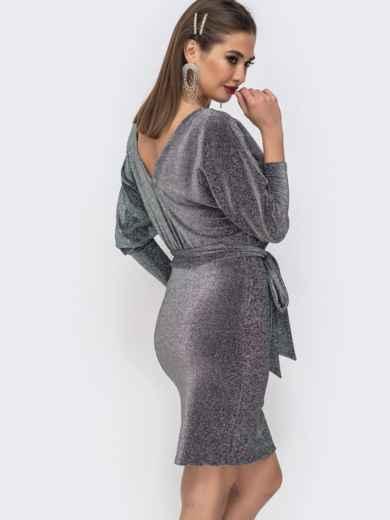 """Платье из люрекса с рукавом """"летучая мышь"""" серого цвета - 42744, фото 4 – интернет-магазин Dressa"""