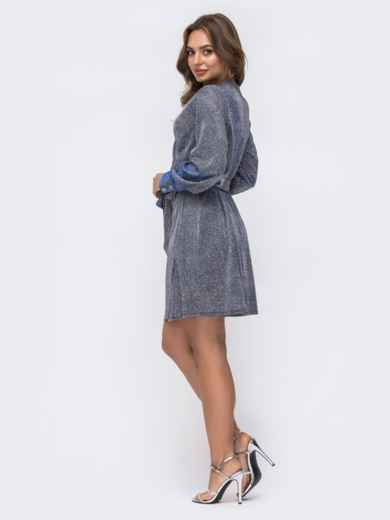 Платье на запах из люрекса с поясом в комплекте серое - 42751, фото 3 – интернет-магазин Dressa