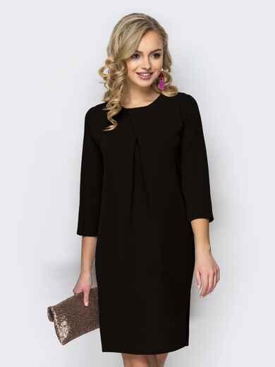 Платье свободного кроя со складкой чёрное 44031, фото 1