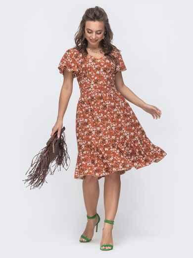 """Расклешенное платье с принтом и рукавом """"крылышко"""" терракотовое 46720, фото 1"""
