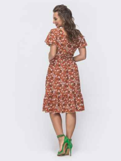 """Расклешенное платье с принтом и рукавом """"крылышко"""" терракотовое 46720, фото 3"""