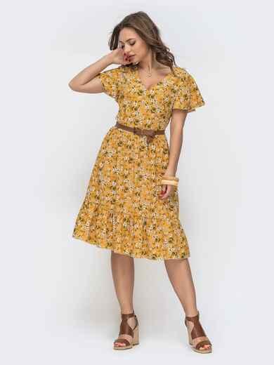 """Расклешенное платье с принтом и рукавом """"крылышко"""" желтое 46721, фото 1"""