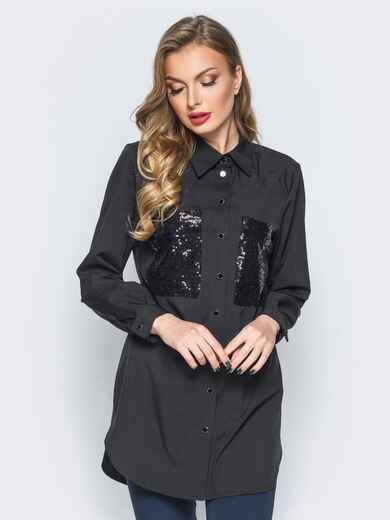Рубашка черного цвета с пайетками на накладных карманах - 18096, фото 1 – интернет-магазин Dressa