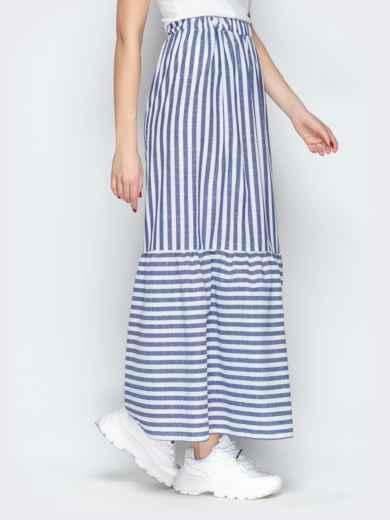 Тёмно-синяя юбка в полоску на резинке с воланом по низу - 20503, фото 2 – интернет-магазин Dressa