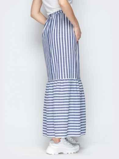 Тёмно-синяя юбка в полоску на резинке с воланом по низу - 20503, фото 3 – интернет-магазин Dressa
