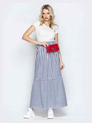 Тёмно-синяя юбка в полоску на резинке с воланом по низу - 20503, фото 4 – интернет-магазин Dressa