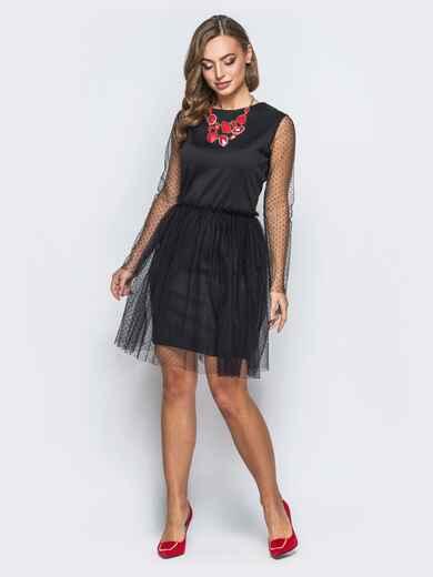 Трикотажное платье с рукавами и юбкой и фактурного фатина черное - 18077, фото 1 – интернет-магазин Dressa