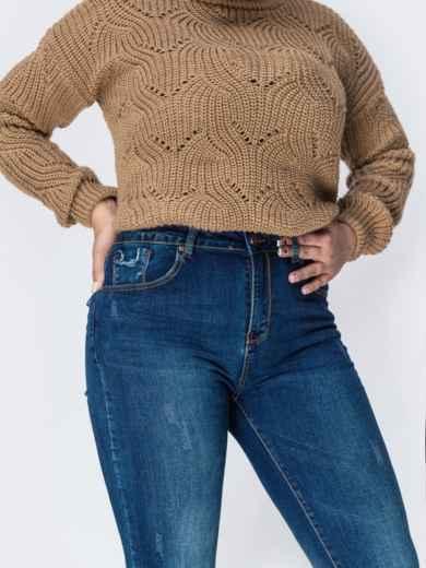 Зауженные джинсы со стандартной посадкой синие - 41927, фото 3 – интернет-магазин Dressa