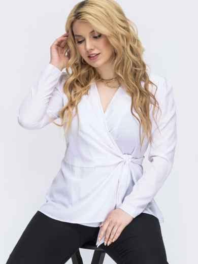 Белая батальная блузка на запах 46284, фото 1