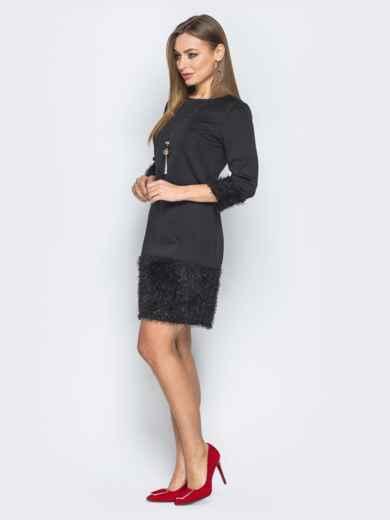 """Черное платье с низом из ткани """"травка"""" - 19233, фото 2 – интернет-магазин Dressa"""