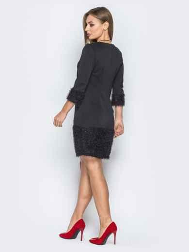 """Черное платье с низом из ткани """"травка"""" - 19233, фото 3 – интернет-магазин Dressa"""