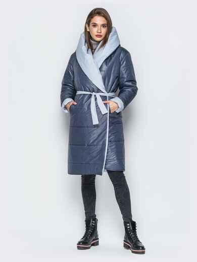 Двухсторонняя куртка с поясом в комплекте серая - 19213, фото 1 – интернет-магазин Dressa