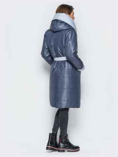 Двухсторонняя куртка с поясом в комплекте серая - 19213, фото 2 – интернет-магазин Dressa