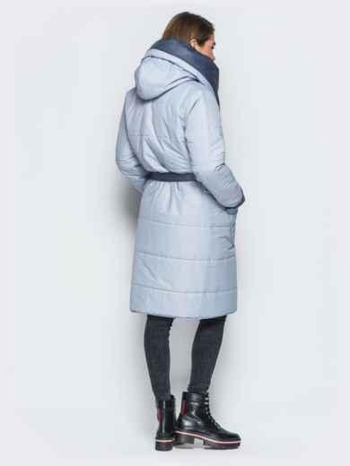 Двухсторонняя куртка с поясом в комплекте серая - 19213, фото 3 – интернет-магазин Dressa