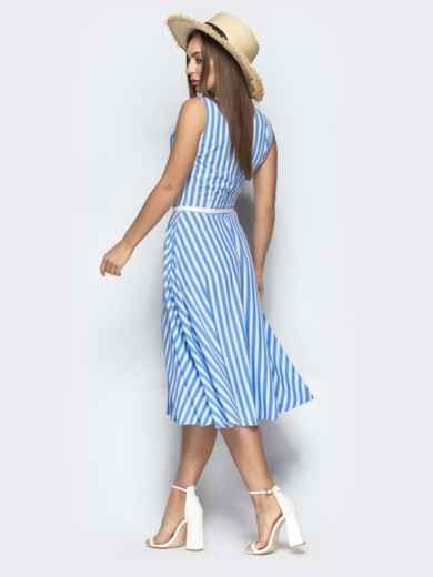 Голуое платье в полоску с запахом и юбкой-полусолнце - 22185, фото 4 – интернет-магазин Dressa