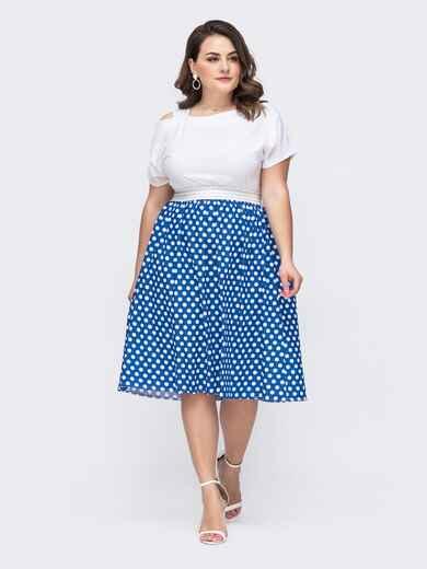 Комбинированное платье батал с юбкой в горох голубое 46292, фото 1