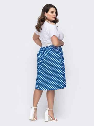 Комбинированное платье батал с юбкой в горох голубое 46292, фото 2