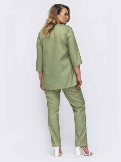 Комплект батал с кофтой и брюками цвета хаки 46268, фото 2